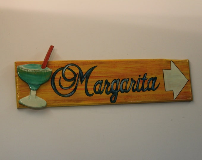 Margarita This Way - handpainted directional bar sign with handcarved margarita glass