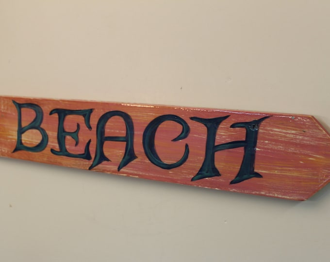 BEACH- Handpainted beach arrow sign with wet look epoxy finish.