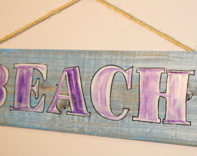 BEACH - distressed cypress wood sign with rope hanger