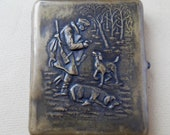 Russian Antique silver plated brass cigarette case Hunter and two dogs.