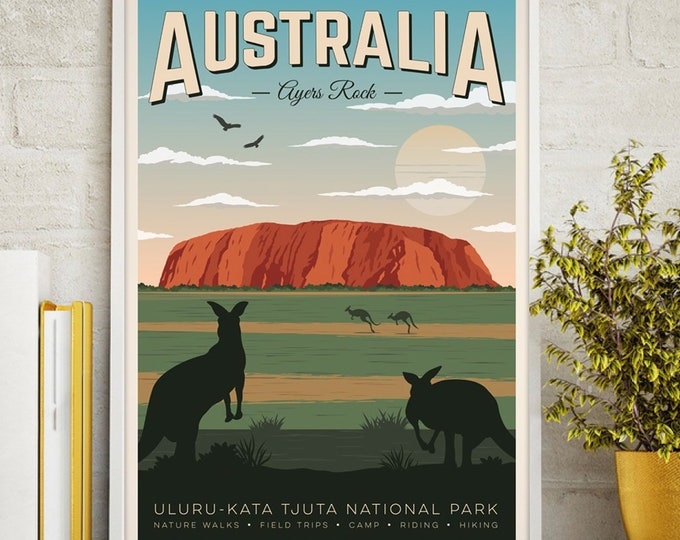 Australia Vintage Travel Poster, Australia, Ayers Rock, Australia print, Travel, Decoration, Wall Art