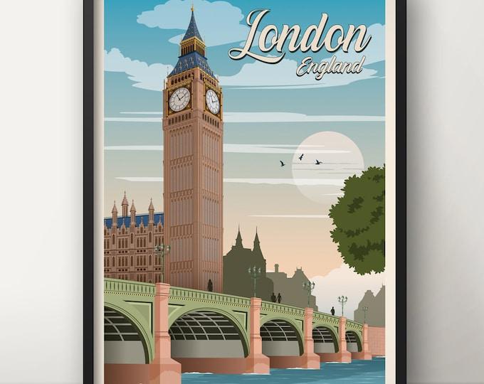 London Travel Poster, Big Ben Travel Poster, UK travel poster, Vintage Poster, London poster, Poster decoration
