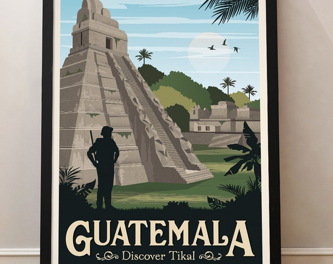 Guatemala Vintage Travel Poster, South America, Tikal, Travel poster, Decoration, Wall Art
