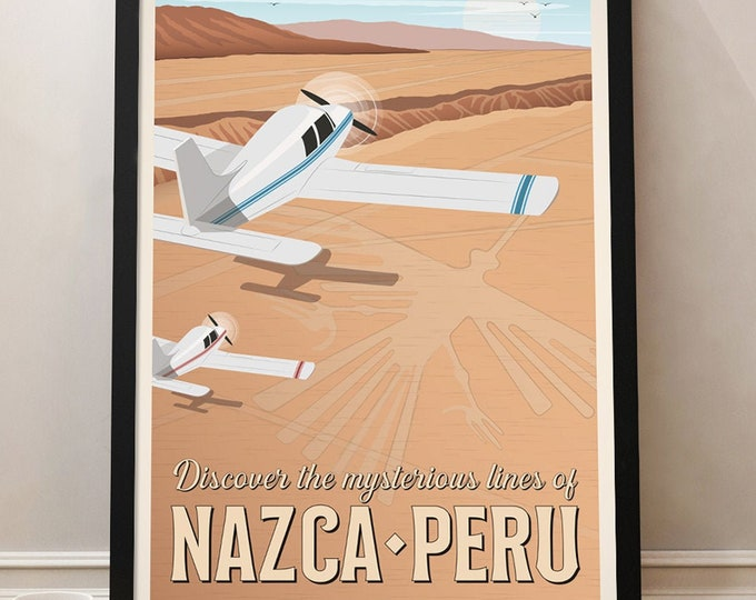 Nazca Travel Poster, Peru Travel Poster, Peru, Vintage Poster, Nazca lines poster, Poster decoration