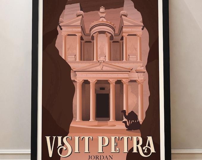 Petra Vintage Travel Poster, Travel poster, Jordan poster, Travel print, Decoration, Wall Art
