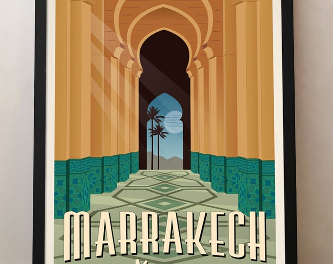 Marrakech Vintage Travel Poster, Morocco travel poster, Morocco, Decoration, Wall Art