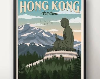 Hong Kong Vintage Travel Poster, Travel, Decoration, Wall Art, Printable Poster, China