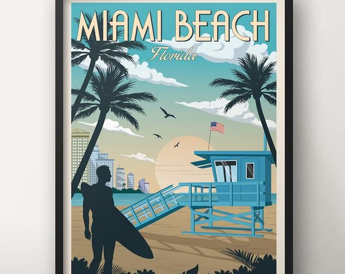 Miami Vintage Travel Poster, Florida, Miami Travel poster, Decoration, Wall Art, USA