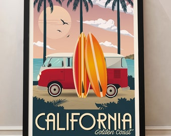3583294f68 California Vintage Travel Poster, Golden Coast, Travel, Decoration, Wall  Art, USA
