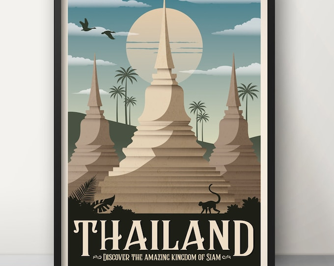 Thailand Vintage Travel Poster, Travel, Decoration, Wall Art, Asia