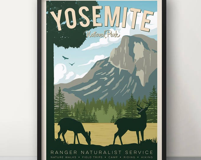 Yosemite Vintage Travel Poster, Travel, Decoration, Wall Art, Printed Poster, Yosemite, USA, California