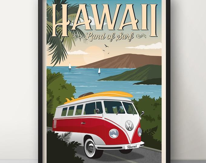 Hawaii Vintage Travel Poster, Travel poster, Hawaii, Decoration, Wall Art, WV van poster, Exotic, Polynesia