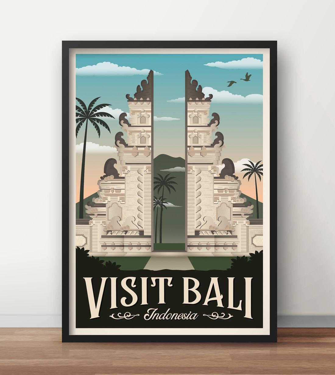 Bali Vintage Travel Poster Bali Travel Poster Decoration Wall Art