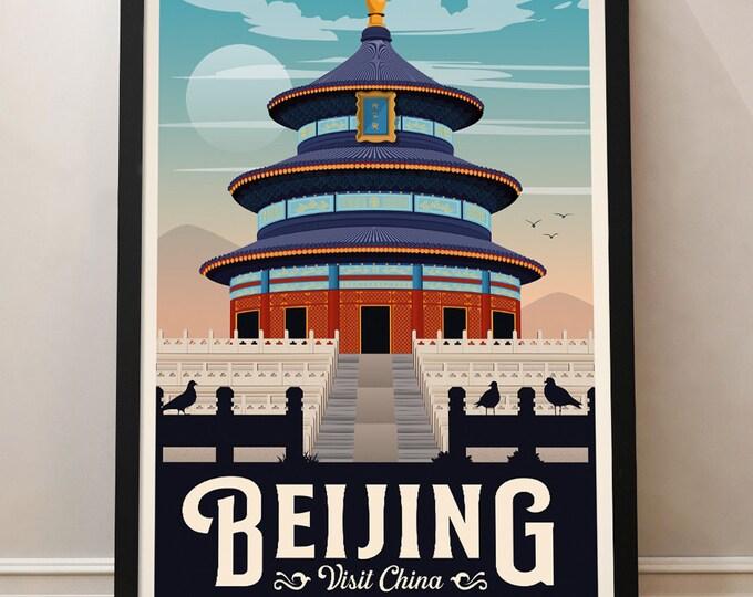 Beijing travel poster, Vintage Travel Poster China, China Travel Poster, Vintage Poster, Temple of heaven, Poster decoration