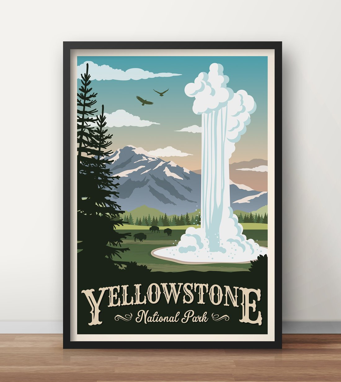 VINTAGE YELLOWSTONE NATIONAL PARK US TRAVEL A3 POSTER PRINT