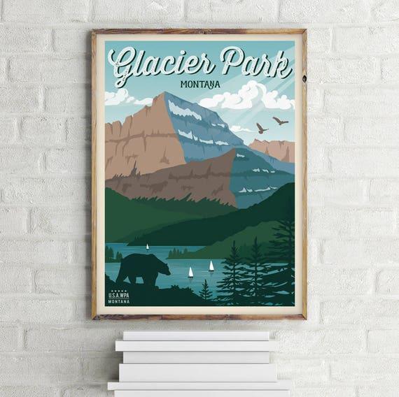 Glacier National Park Poster Vintage Travel Poster Glacier Etsy