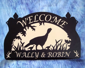 Personalized Metal Signs Wild Turkey and Chicks