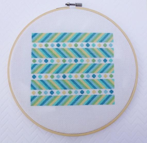 Seafoam Chevron, Modern Cross Stitch Pattern PDF, Instant Download,  Geometric Cross Stitch, Beginner Cross Stitch, Modern Embroidery