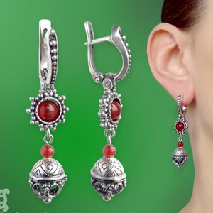 Handmade Silver Wicca Ancient Pagan Solar Talisman Viking Nordic Witchcraft Norse Ethnic wicca magic Viking Amulet Earrings with Sun