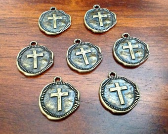 Cross with wax seal 10 Light Gold Coin Relic Charm Pendants round 22mm chg0589