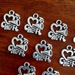 12pcs Cheerleading Charms, Charms Bulk, Love to Cheer Charms, Cheer Charms, Cheerleader Charms, Sports Charms, Findings and Jewelry Supplies
