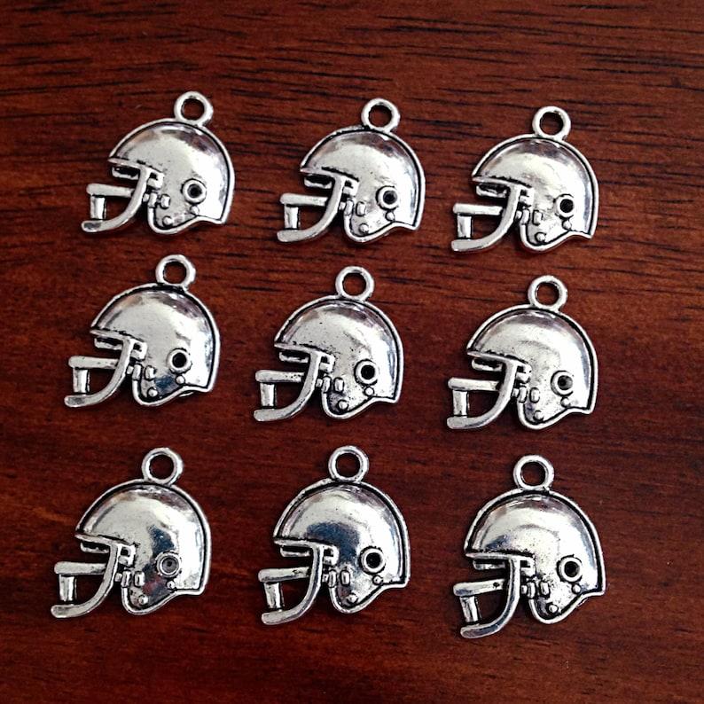 Bulk 20 Football Helmet Charms Antique Silver Charms image 0