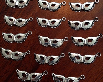 Bulk 20 Mask Charms, Antique Silver Mask Charms, Masquerade Charms, New Orleans Mardi Gras Charms, Findings, Crafting and Jewelry Supplies