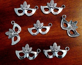 8 Mask Charms, Antique Silver Mask Charms, Masquerade Charms, New Orleans Mardi Gras Charms, Findings, Crafting and Jewelry Supplies