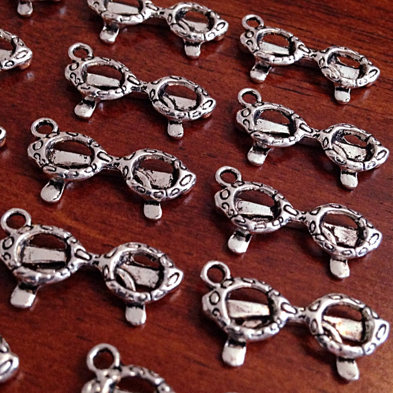Findings 3D Charms Double Sided Charms Bulk 20 Sunglasses Charms Craft and Jewelry Supplies Eye Glasses Charms Silver Charms