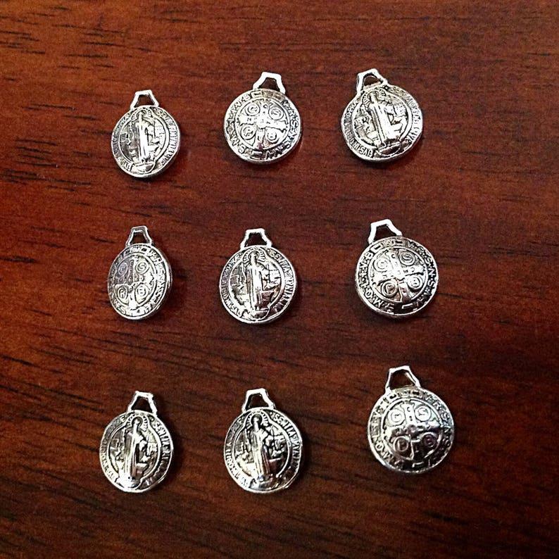 5dea660a138 Tiny St. Benedict Charms 50pcs Puffed Saint Benedict Medals | Etsy