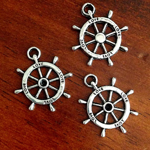 25pcs Tibetan Silver Steering wheel Pendants Charms For Jewelry Making