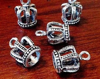 12 Crown Charms, Princess Charms, Antique Silver Charms, Silver Crown Charms, 3D Crown Charms, Double Sided Crown Charm, Findings, Crafts