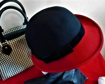 953eb64289a Vintage Red   Black with a Black Velvet Ribbon and Bow Doeskin Felt 100%  Wool Hat by Geo. W. Bollman. Co. Made in USA!