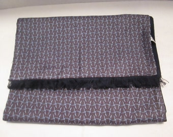 Men's Vintage Silk Opera - Evening Coat -Tuxedo Scarf -Muffler in Brown - Gray - Blue with Geometric Pattern.