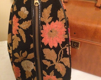 Vintage Toiletry, Travel, or Cosmetic Floral Carpet Bag.