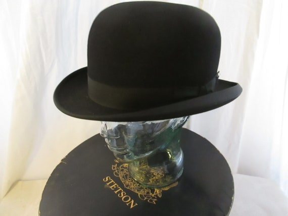 Men s Vintage Stetson Bowler - Derby Black Hat. f784bbd0afa