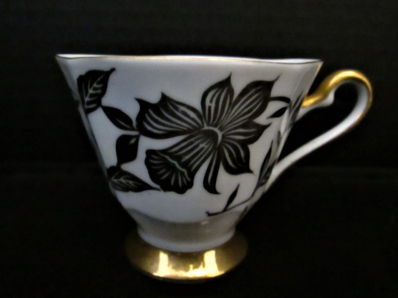 Makes a Nice Addition to your Collection! Vintage Hand Painted in Black Floral on a White Background /& Gold Trim
