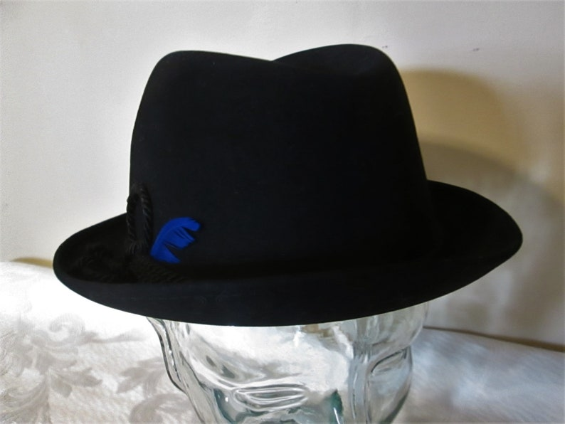 Men/'s Vintage Black Wool Felt Fedora Hat by Matt Andrews with a Blue Feather in it/'s Cap A Classic All American Look!