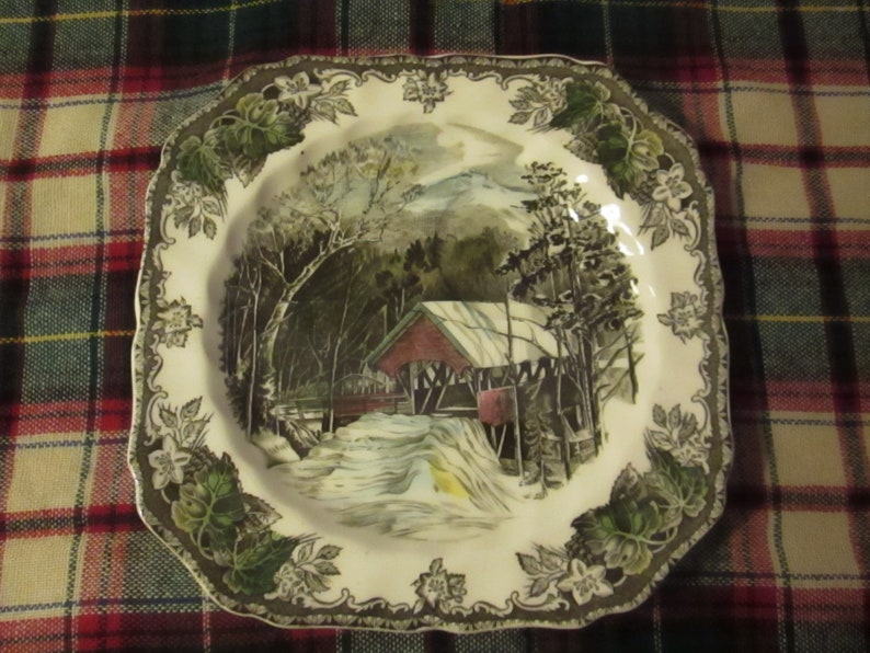 Set of Four Makes a Great Gift! Made in England - The Friendly Village Covered Brige Cup /& Biscuit Plate Vintage Johnson Bros