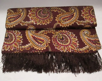 Men's Vintage Rayon Opera - Evening Coat -Tuxedo Scarf -Muffler - Foulard  in Brown - Golden Yellow - Red with Paisley Pattern with Fringe.