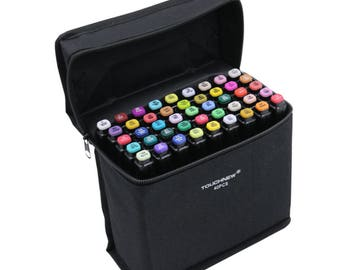 Animation Design Touch Five Markers Pens (40 Colors ) Twin Tip Broad Fine Point + Gift Felt Pencil Case