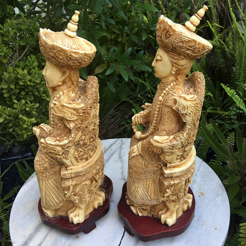 Vintage ResinFaux Ivory Carvings Chinese Emperor and Empress PairFree Shipping!