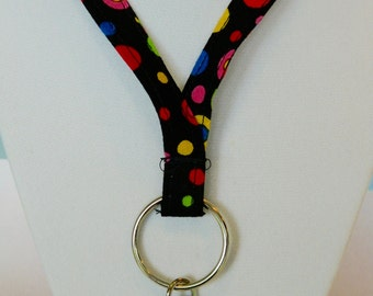 Colorful Dots Fabric Lanyard