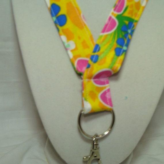 Green Yellow Paw Print Key Fob//Fabric Key Chain
