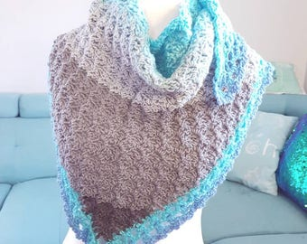 Ready to Ship One-of-a-Kind Crocheted Long Scarf/Shawlette, Blues and Greys