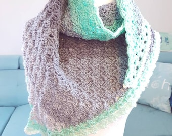 Ready to Ship One-of-a-Kind Crocheted Long Scarf/Shawlette, Greys and Greens