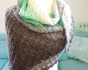 Ready to Ship One-of-a-Kind Crocheted Long Scarf/Shawlette, Green, Grey, White