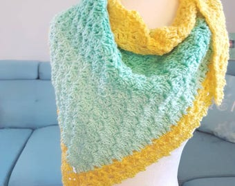 Ready to Ship One-of-a-Kind Crocheted Long Scarf/Shawlette, Yellow & Green Pastels