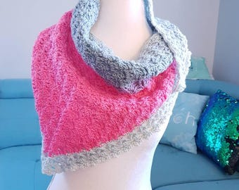 Ready to Ship One-of-a-Kind Crocheted Long Scarf/Shawlette, Pink, Purple, Grey