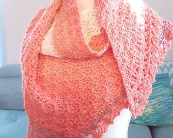 Ready to Ship One-of-a-Kind Crocheted Long Scarf/Shawlette, Peaches and Cream